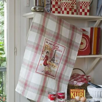 Linen « Un jour à Paris en Automne » Tea towel