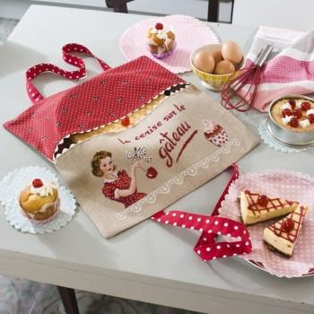 Aïda : Porte Tarte «Cerise sur le gâteau» à broder au point de croix