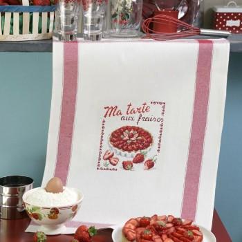Aïda : Torchon «Aux fraises» à broder au point de croix
