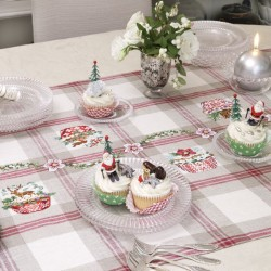 Lin : Chemin de table « Cupcakes de Noël » à broder au point de croix
