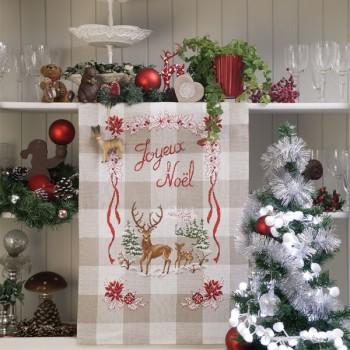 Aïda : Torchon «Noël enchanteur» à broder au point de croix