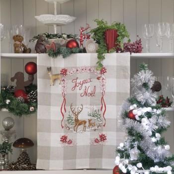 Lin : Torchon «Noël enchanteur» à broder au point de croix