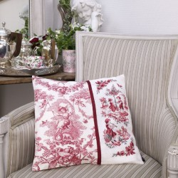 Aïda «Toile de Jouy» Red Cushion