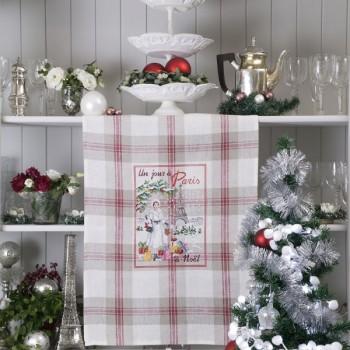 Linen « Un jour à Paris à Noël » Tea towel