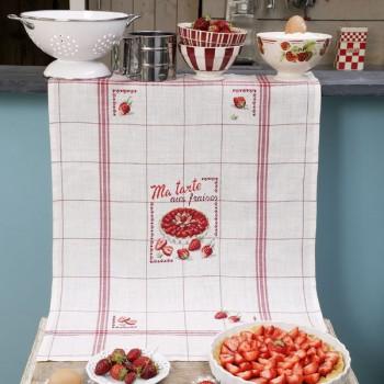 Lin : Torchon «Aux fraises» à broder au point de croix