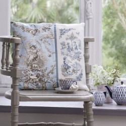 Linen «Toile de Jouy» Blue Cushion