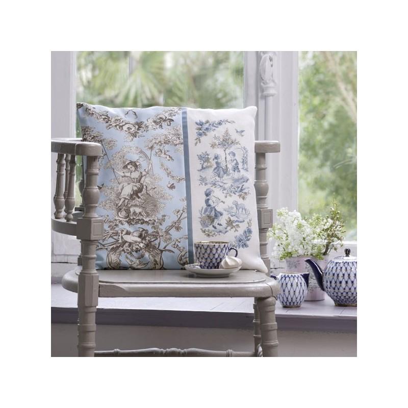 Fine Linen Toile De Jouy Blue Cushion Les Brodeuses Parisiennes Caraccident5 Cool Chair Designs And Ideas Caraccident5Info