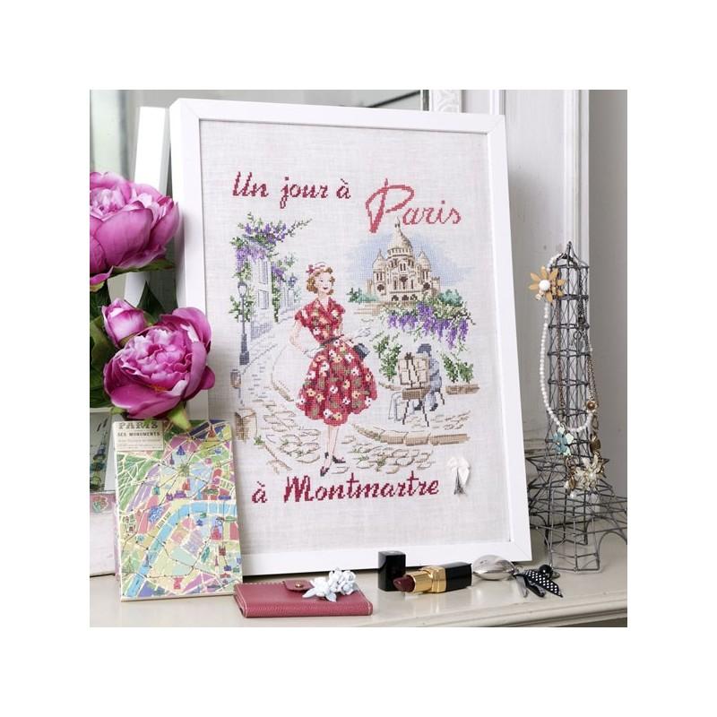 Lin : Un jour à Paris à Montmartre à broder au point de croix