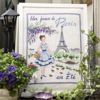 Lin : Un jour à Paris en été à broder au point de croix