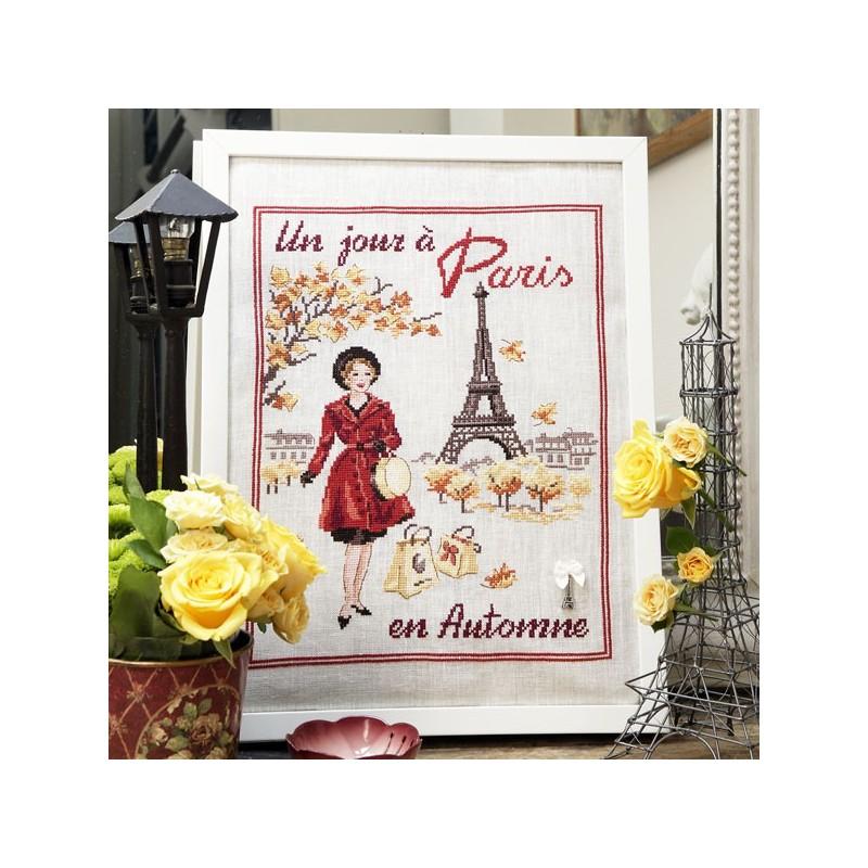 Lin : Un jour à Paris en automne à broder au point de croix