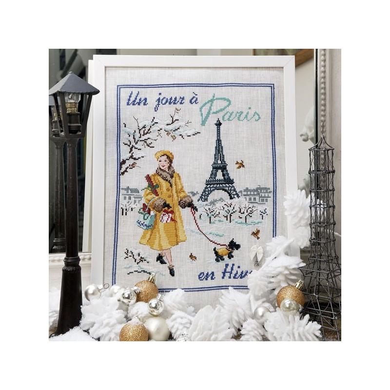 Aïda : «Un jour à Paris en hiver» à broder au point de croix