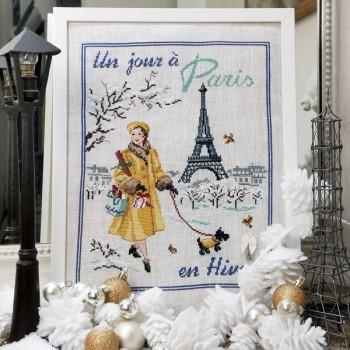 Lin : «Un jour à Paris en hiver» à broder au point de croix