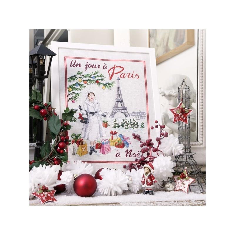 Lin : «Un jour à Paris à Noël» à broder au point de croix