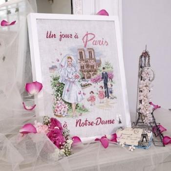 Lin : «Un jour à Paris à Notre Dame» à broder au point de croix