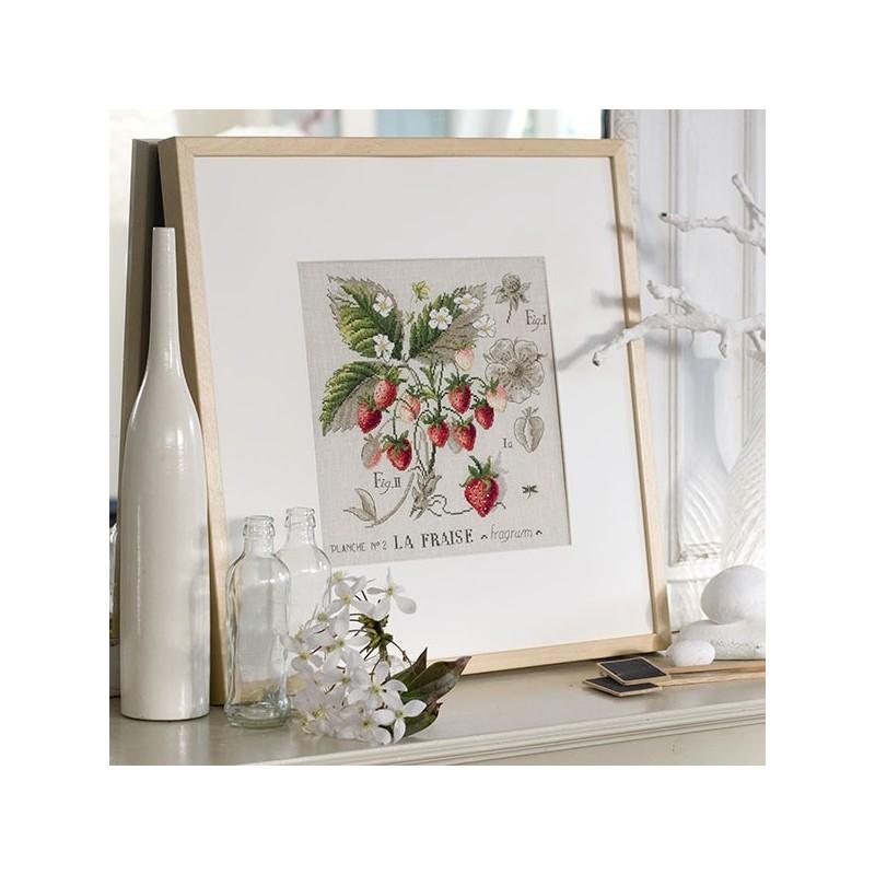 Linen « Strawberry » study (maxi-pattern)