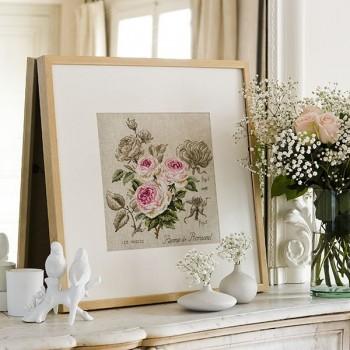 Linen rose study «Pierre de Ronsard» (maxi-pattern)
