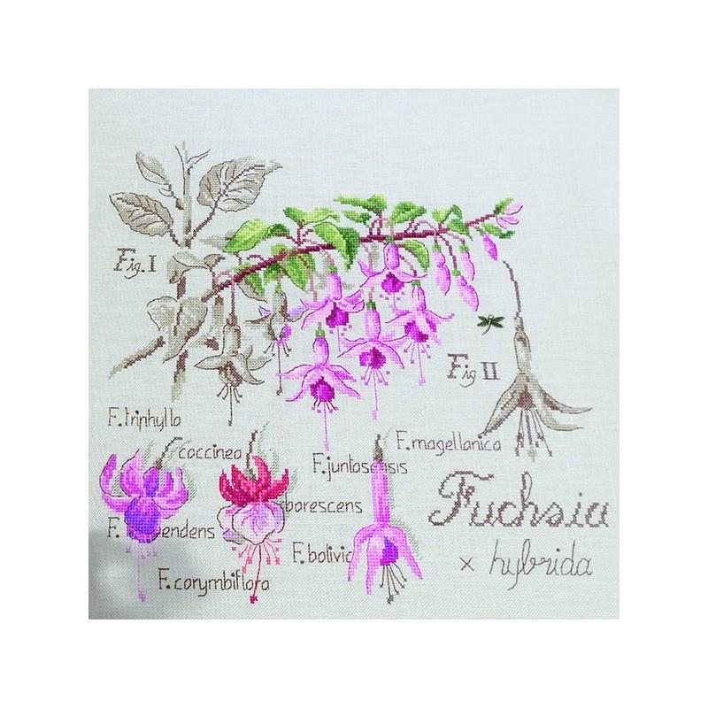 Lin : Étude au Fuchsia (maxi-grille) à broder au point de croix