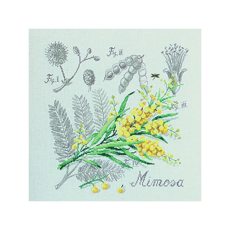 Lin : Étude au Mimosa (maxi-grille) à broder au point de croix