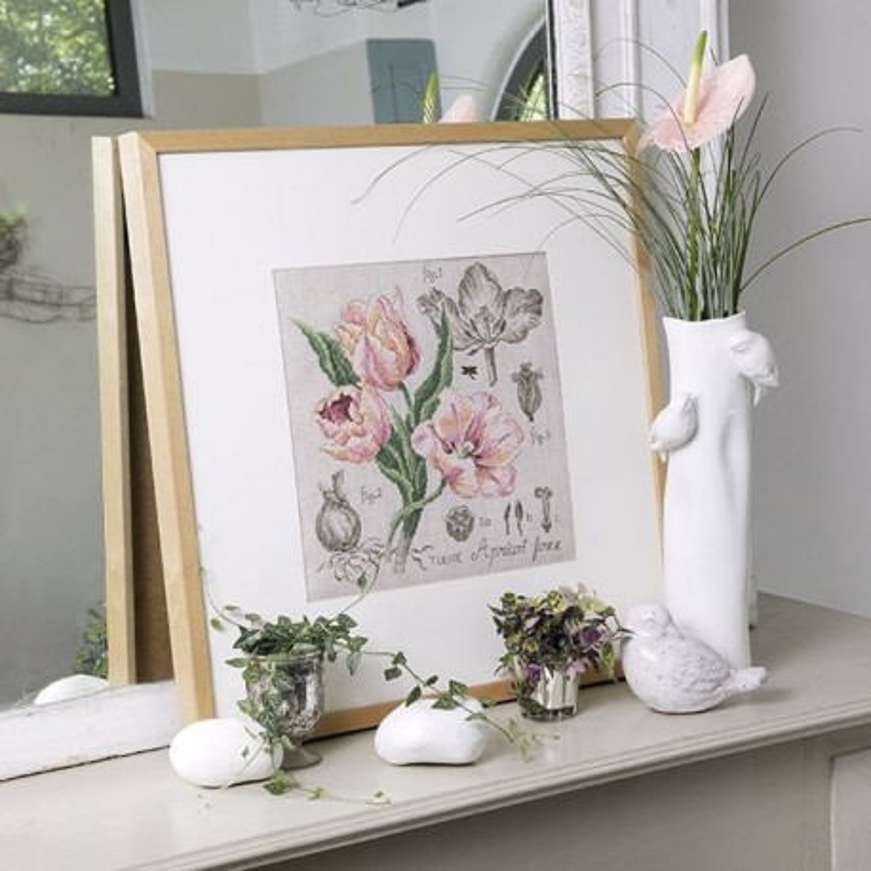 Lin : Étude à la Tulipe (maxi-grille) à broder au point de croix