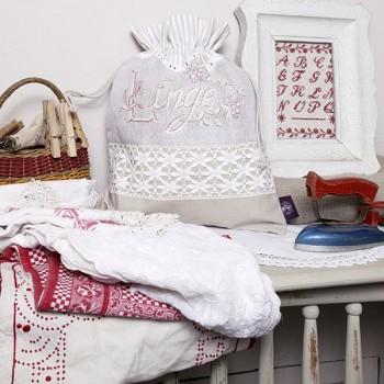 Linen «Linge ancien» Drawstring pouch