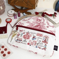 Linen Large « Toile de Jouy » Red print embroidery pouch