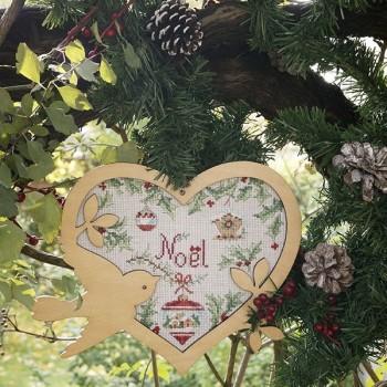 Aïda : Cœur de Noël « Sylvestre » à broder au point de croix