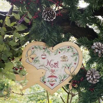 Lin : Cœur de Noël «Sylvestre» à broder au point de croix