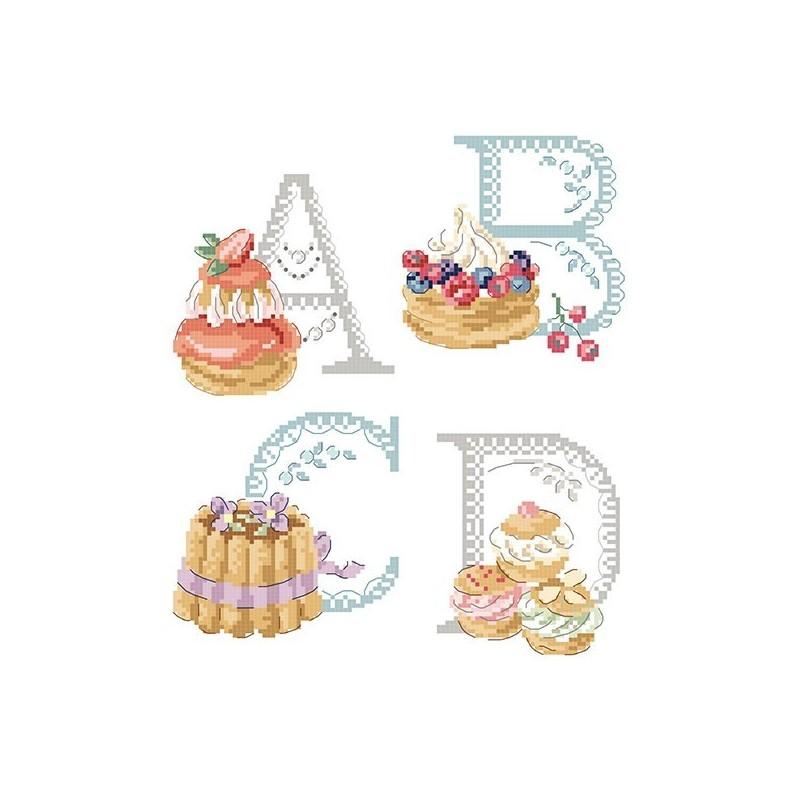 Le grand ABC «Pâtisserie» à broder au point de croix