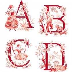 The big red «Toile de Jouy» Alphabet chart