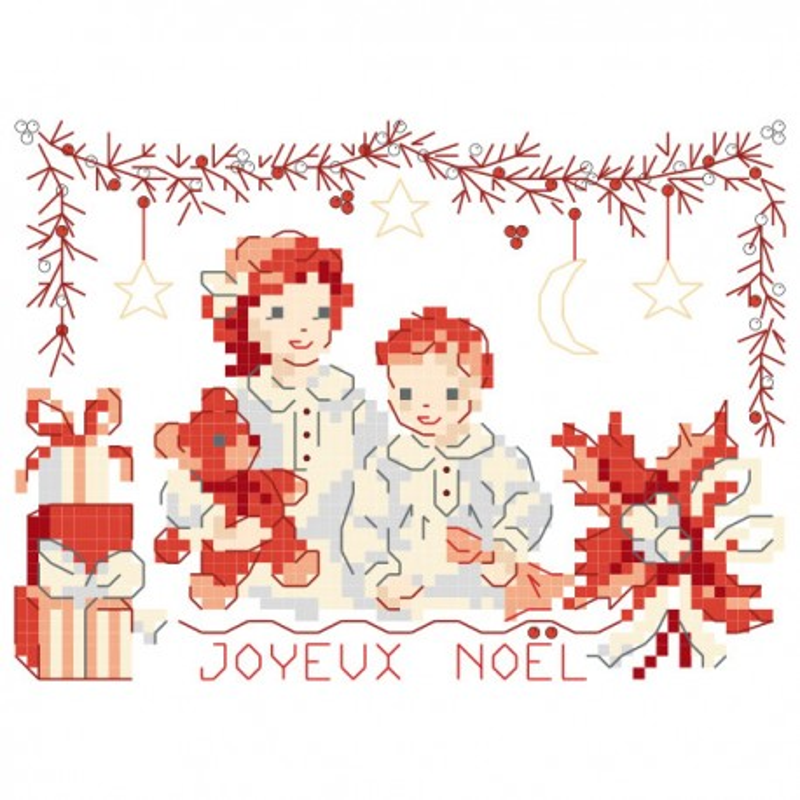 Grille «Nuit de Noël rouge et blanc »