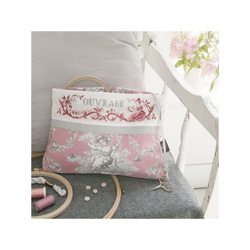 a da maxi trousse toile de jouy rose les brodeuses. Black Bedroom Furniture Sets. Home Design Ideas