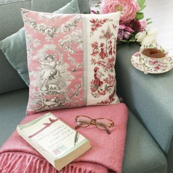 Linen «Toile de Jouy» Pink Cushion