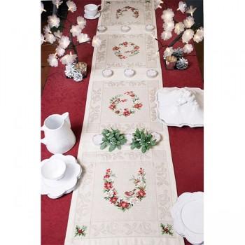 Aïda : Le chemin de table « Belles hellébores » à broder au point de croix