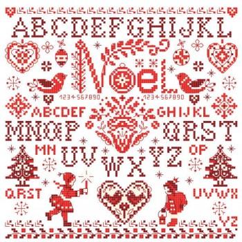 Grille « Sampler de Noël » en rouge et blanc