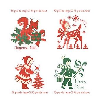 4 grilles « Petit Noël » en rouge et vert