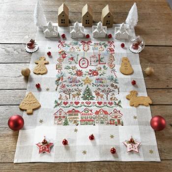 Linen « Imagier de Noël » Tea towel