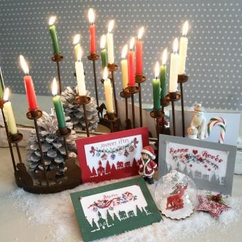 Lin : 3 cartes de vœux à broder de fil et de papier