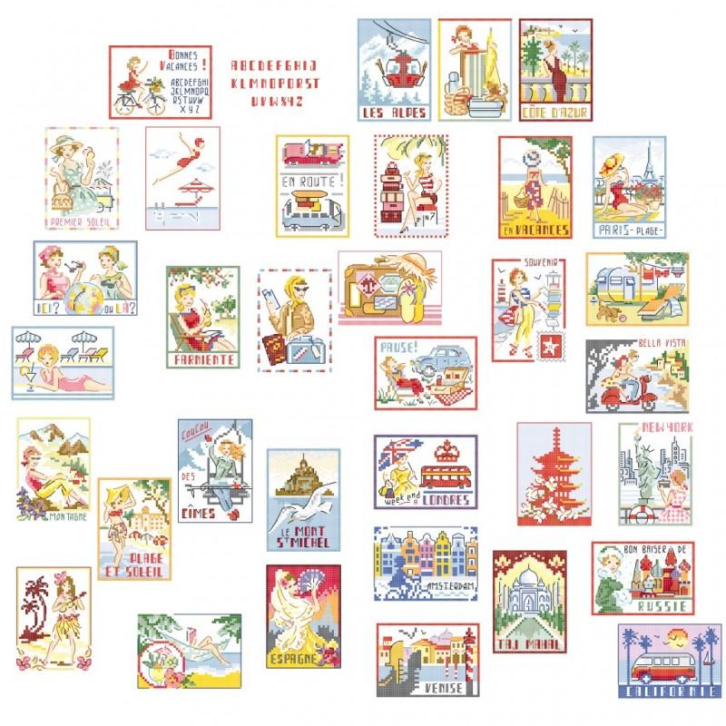 La grande histoire des «Vacances vintage » : 34 motifs au format ATC