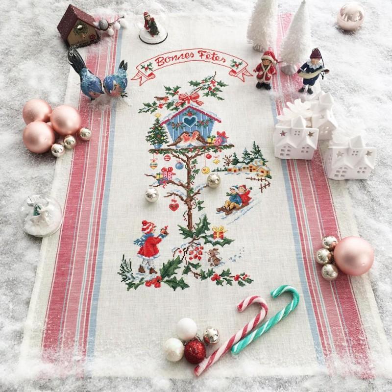 Linen «  Le nichoir de Noël » Tea towel