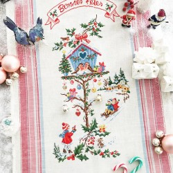 Aïda  «  Le nichoir de Noël  » Tea towel