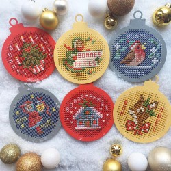 "6 ""Christmas Balls"" made of embroidery paper"