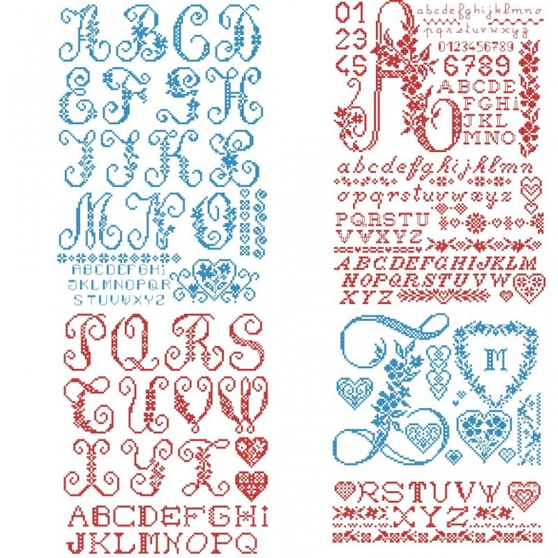 The big red «Toile de Jouy» Alphabet chart