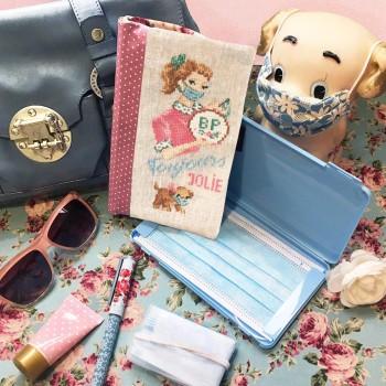 Linen « Always pretty »  Masks case's Pouch Floral version