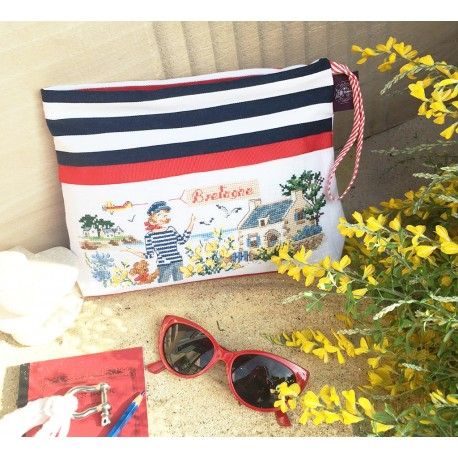 Linen  « Brittany » Maxi pouch
