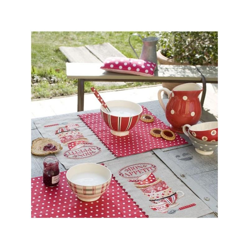 Sets de table Lin «Bon appétit» à broder au point de croix